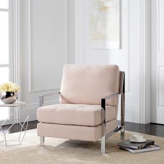 Safavieh Mid-Century Modern Walden Tufted Linen Chrome Beige Accent Chair