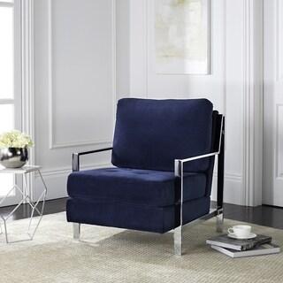 Safavieh Modern Walden Tufted Blue Velvet Accent Chair