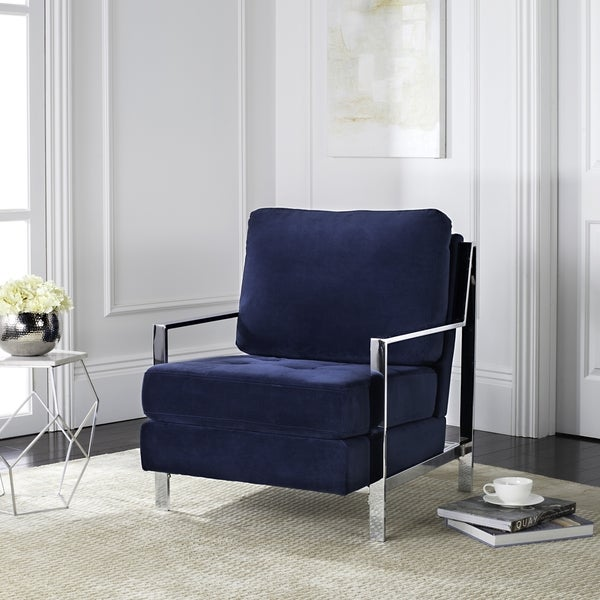 Charmant Safavieh Mid Century Modern Walden Tufted Velvet Chrome Navy Accent Chair