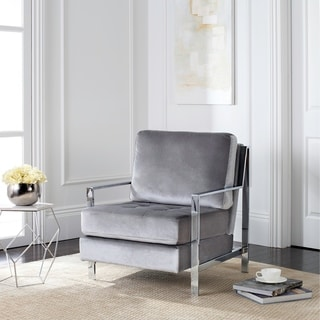 Safavieh Mid-Century Modern Walden Tufted Velvet Chrome Light Grey Accent Chair