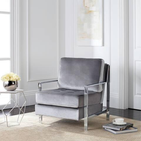 """SAFAVIEH Mid-Century Modern Glam Walden Velvet Light Grey Club Chair - 30"""" x 33.5"""" x 34.3"""""""