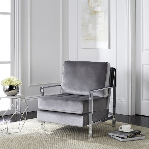 Safavieh Mid Century Modern Glam Walden Velvet Light Grey Club Chair