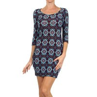 MOA Collection Women's Multicolor Rayon Mandala Bodycon Fitted Dress