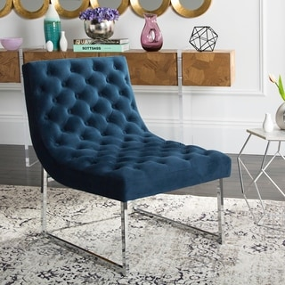 Safavieh Mid-Century Modern Hadley Velvet Tufted Navy Accent Chair