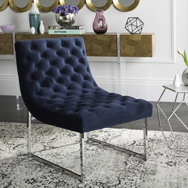 Safavieh Mid Century Modern Hadley Velvet Tufted Navy Accent Chair