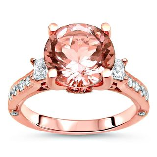 Noori 2 1/2 TGW Round Morganite 3 Stone Diamond Engagement Ring 14k Rose Gold