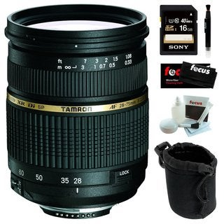 Tamron AF 28-75mm f/2.8 SP XR Di LD Aspherical (IF) Zoom Lens for Nikon DSLR with Sony 16GB SDHC C10 Bundle