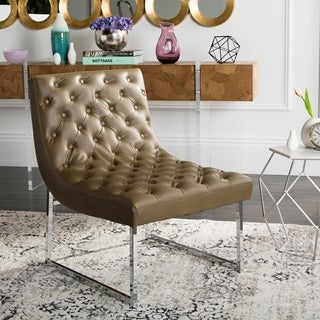 Safavieh Mid-Century Modern Glam Hadley Tufted Leather Antique Taupe Club Chair