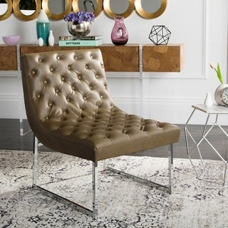 """Safavieh Mid-Century Modern Glam Hadley Tufted Leather Antique Taupe Club Chair - 25"""" x 30"""" x 32"""""""