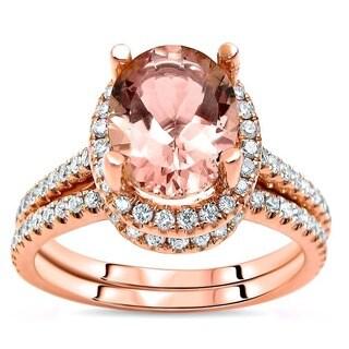 Noori 14k Rose Gold Morganite and 1/2ct TDW White Diamond Engagement Bridal Set (G-H, SI2-I1) - Pink