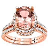 Noori 14k Rose Gold Morganite and 1/2ct TDW White Diamond Engagement Bridal Set (G-H, SI2-I1) - Pink