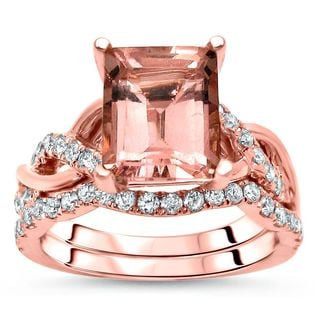 Noori 2 2/5 TGW Emerald Morganite Diamond Engagement Ring Set 14k Rose Gold