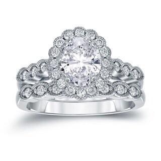 Auriya 14k Gold 2 1/6ct TDW Certified Oval Diamond Halo Bridal Ring Set