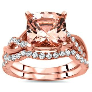 Noori 2 2/5 TGW Cushion Morganite Diamond Engagement Ring Set 14k Rose Gold