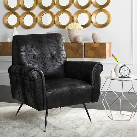 "SAFAVIEH Mid-Century Modern Glam Mira Leather Black Club Chair - 32"" x 29"" x 36.5"""