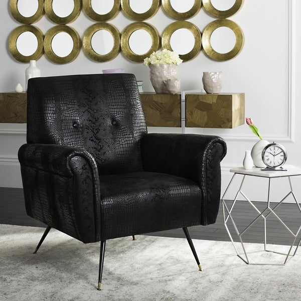 safavieh midcentury modern mira faux leather black accent chair