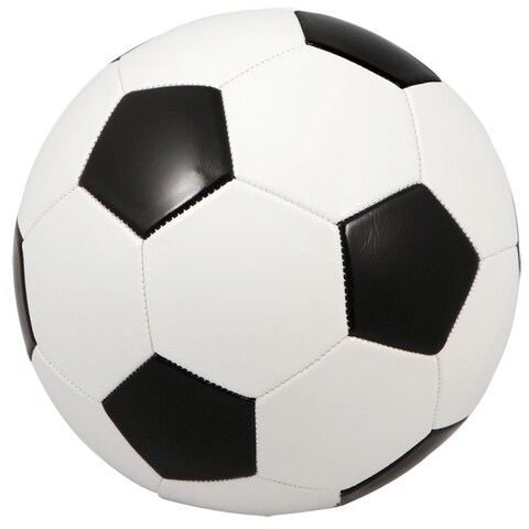 Black and White Synthetic Fiber Regulation-size Premium Inflated Soccer Ball