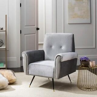 Safavieh Mid-Century Modern Mira Velvet Light Grey Accent Chair