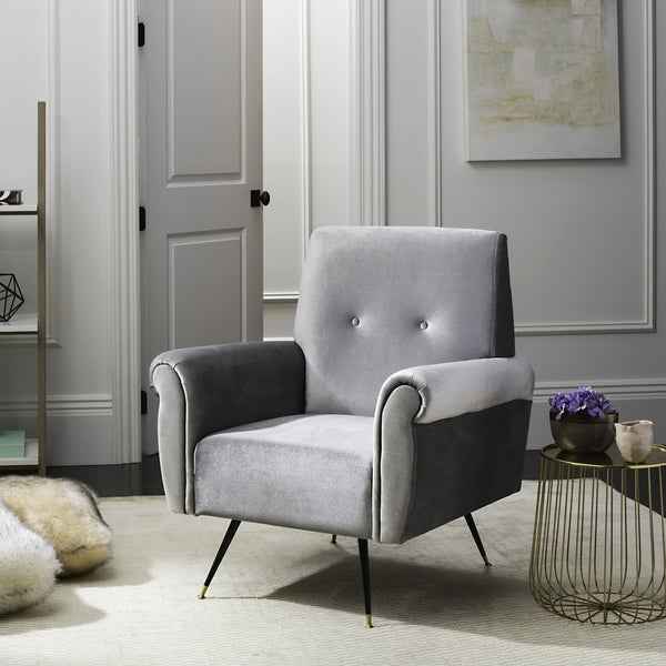 Safavieh Mid Century Modern Mira Velvet Light Grey Accent Chair