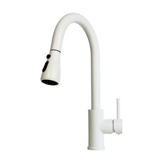 Solid Brass Pull-Out Spray Faucet with Matte White Finish