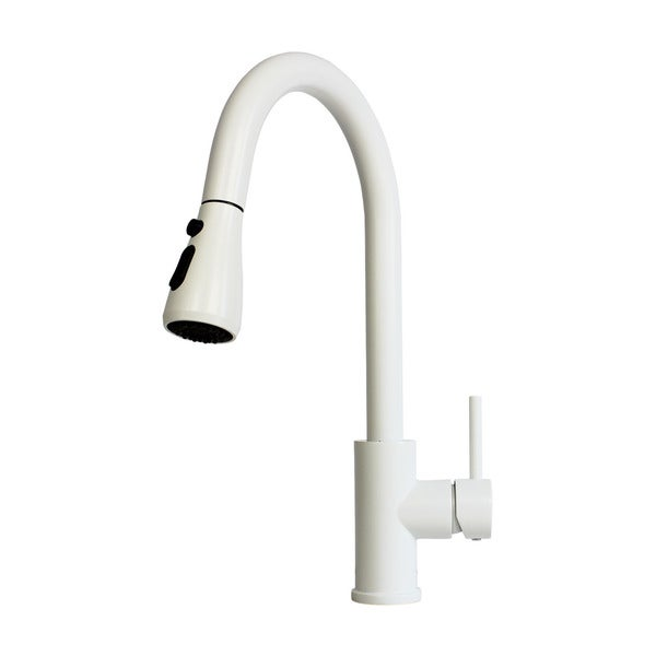 Shop Solid Brass Pull Out Spray Faucet With Matte White Finish