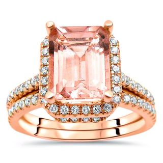 Noori 2 1/2 TGW Emerald Cut Morganite Diamond Engagement Ring Set 14k Rose Gold