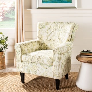 Safavieh Hazina Green Printed Paisley Rolled Back Club Chair