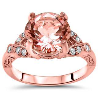 Noori 2 1/6 TGW Round Morganite Diamond Engagement Ring 14k Rose Gold - Pink