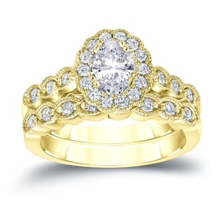 Auriya 14k Gold 1 3/5ct TDW Certified Oval Diamond Halo Bridal Ring Set (H-I, SI1-SI2)