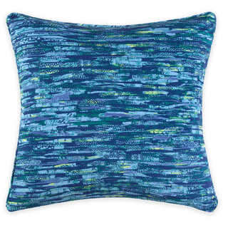 Christian Siriano Watercolor Bloom Blue Velvet Decorative Throw Pillow