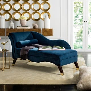 Living Room Chaise. Safavieh Mid Century Modern Caiden Velvet Navy Chaise With Pillow Lounges Living Room Furniture For Less  Overstock com