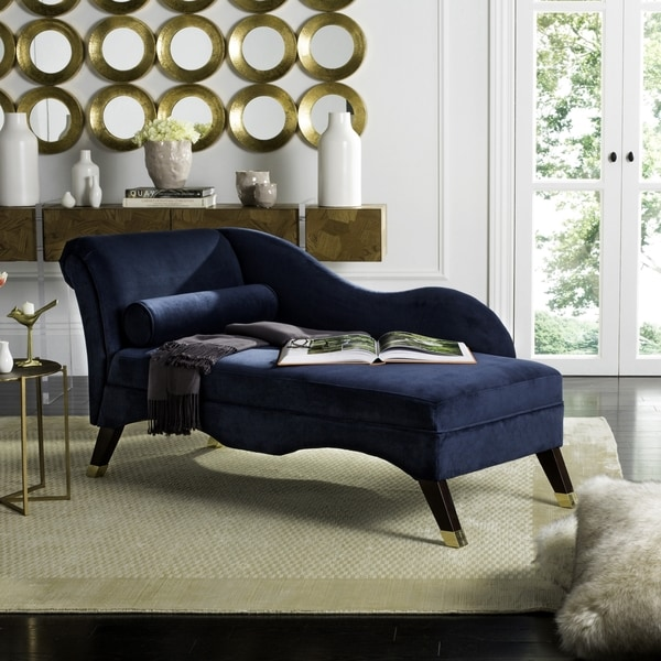 Safavieh Mid-Century Modern Caiden Velvet Navy Chaise With Pillow