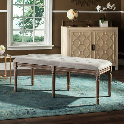 Safavieh Rocha French Brasserie Tufted Traditional Rustic Wood Grey Bench