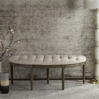 Maison Rouge Lanier Tufted Rustic Semi Circle Beige Bench