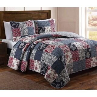 Estate Elizabeth Cotton Patchwork 3-Piece Quilt Set