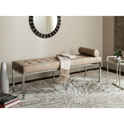 Safavieh Modern Glam Xavier Leather Tufted Beige Bench With Pillow