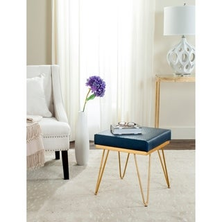 Safavieh Mid-Century Jenine Faux Ostrich Square Navy Bench