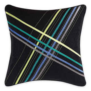Christian Siriano Chic Stripe Black Multicolored Canvas 18-inch x 18-inch Embroidered Decorative Throw Pillow