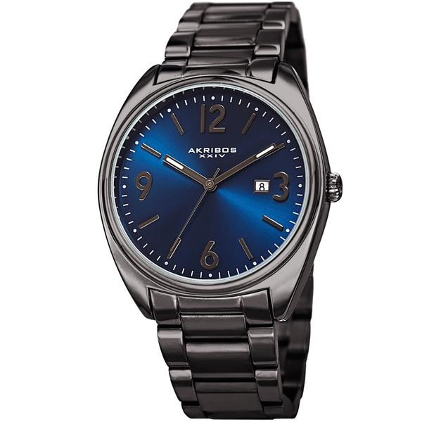 Akribos XXIV Men's Quartz Date Stainless Steel Gun Blue Bracelet Watch