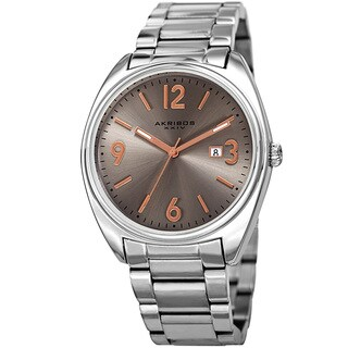 Akribos XXIV Men's Quartz Date Stainless Steel Silver-Tone Bracelet Watch