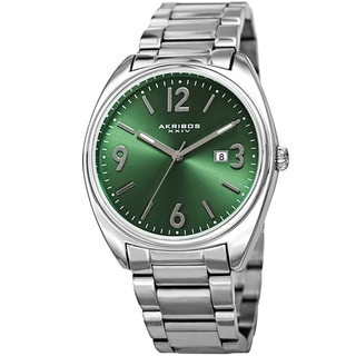 Akribos XXIV Men's Quartz Date Stainless Steel Silver-Tone/Green Bracelet Watch with Gift Box