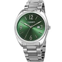 Akribos XXIV Men's Quartz Date Stainless Steel Silver-Tone/Green Bracelet Watch