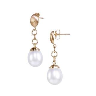 14K Gold White Freshwater Pearl Drop Earrings