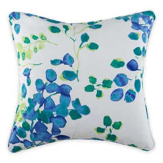 Christian Siriano Watercolor Bloom Blue and White Velvet Decorative Throw Pillow