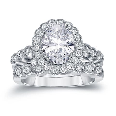 Auriya 14k Gold 3 1/10ctw Vintage Oval Halo Diamond Engagement Ring Set Certified