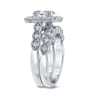 Auriya 14k Gold 3 1/8ct TDW Certified Oval Diamond Halo Bridal Ring Set