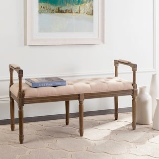 Safavieh Raiden Linen Tufted Rustic Oak Beige Bench