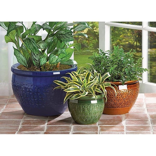Tri-Color Embossed Ceramic Plant Holders - Set of 3. Opens flyout.