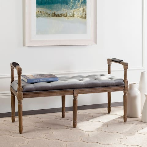 "Safavieh Raiden Velvet Tufted Rustic Oak Grey Bench - 47.5"" x 17.3"" x 27"""