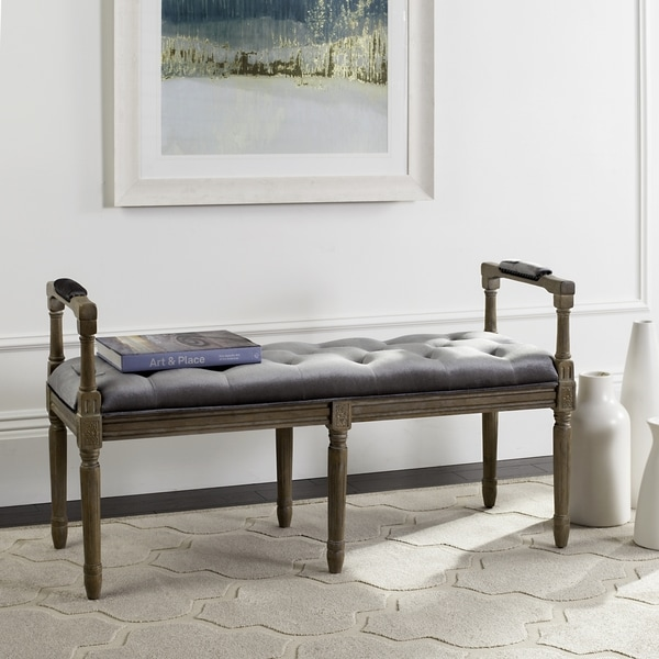 shop safavieh raiden velvet tufted rustic oak grey bench free